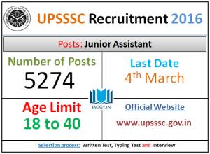 UPSSSC Junior Assistant Admit Card 2016