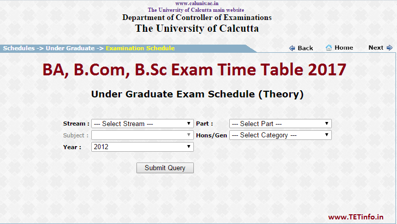 Calcutta University BA BCom BSc Time Table 2017