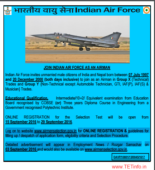 India Air Force Group X and Y Application Form Starts From 15th September 2016