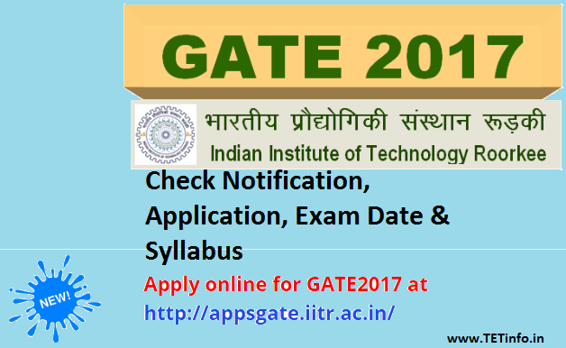 GATE 2017 Application Form