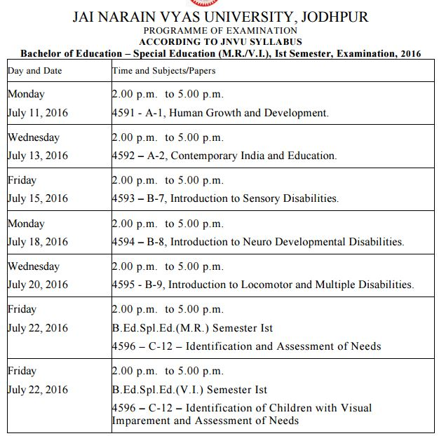 JNVU Time Table 2017